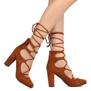New Breckelles Faux Suede Tie Lace Up Chunky Heels